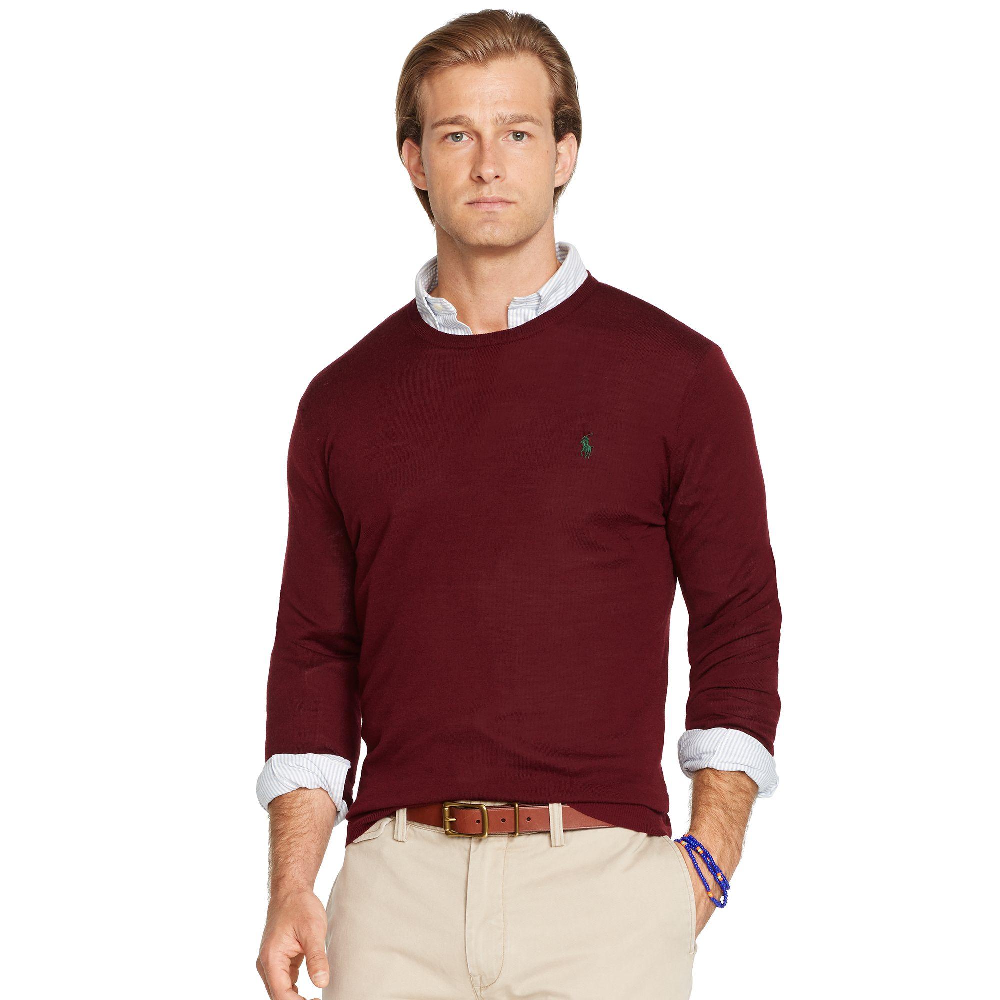 Slim Red Crewneck In For Fit Lyst Lauren Polo Men Ralph Sweater 4AR5jL
