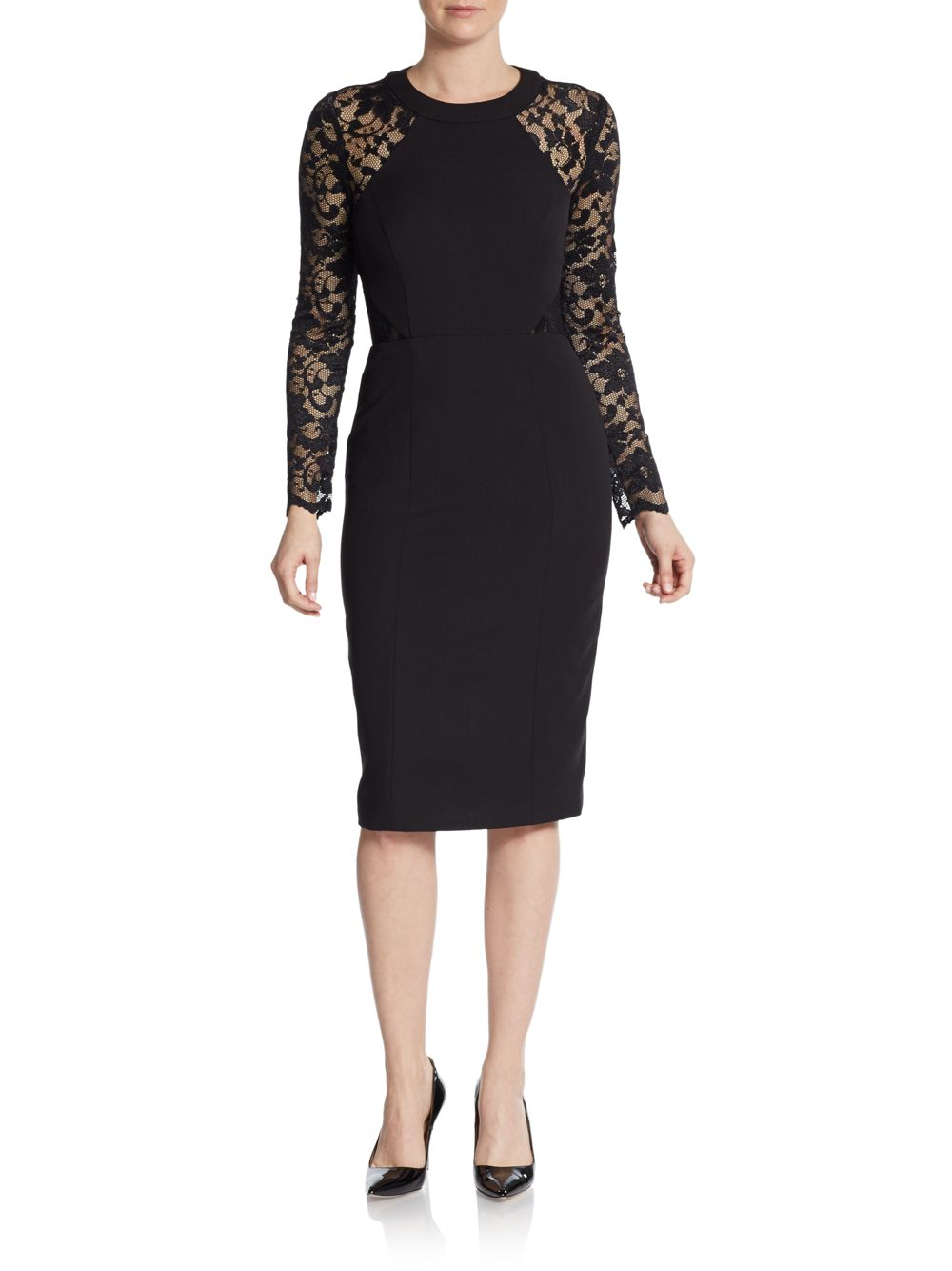 Vince camuto Lace Long-Sleeve Sheath Dress in Black | Lyst