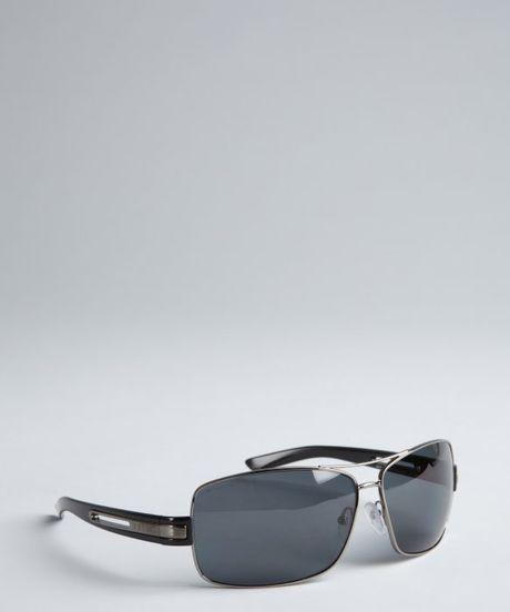 Prada Black Rectangular Polarized Aviator Sunglasses In