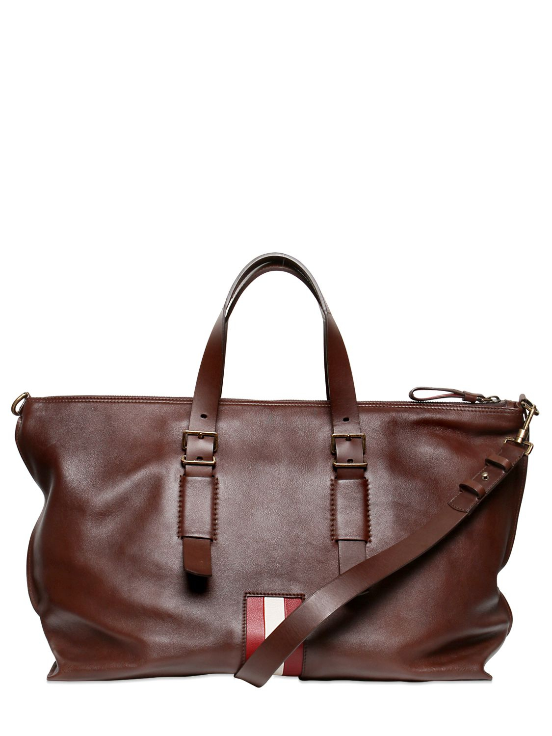 Bally Soft Calf Leather Weekender Bag In Brown Lyst