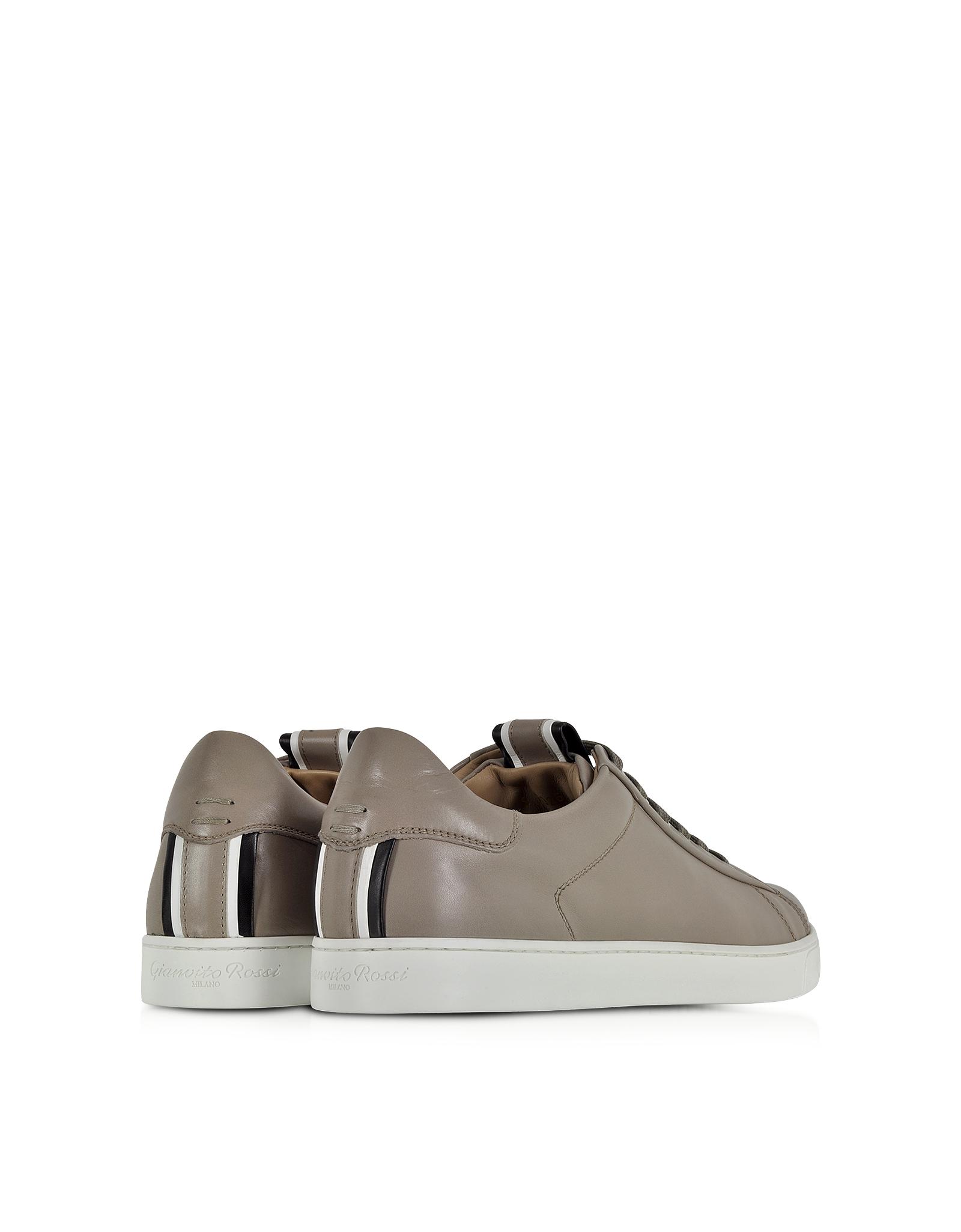 Gianvito rossi Dust White & Black Leather Sneaker in Gray ...