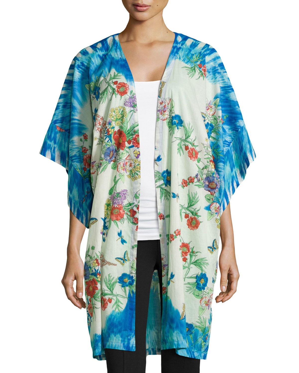 Johnny Was Tied Neck Printed Silk Poncho In Blue Lyst