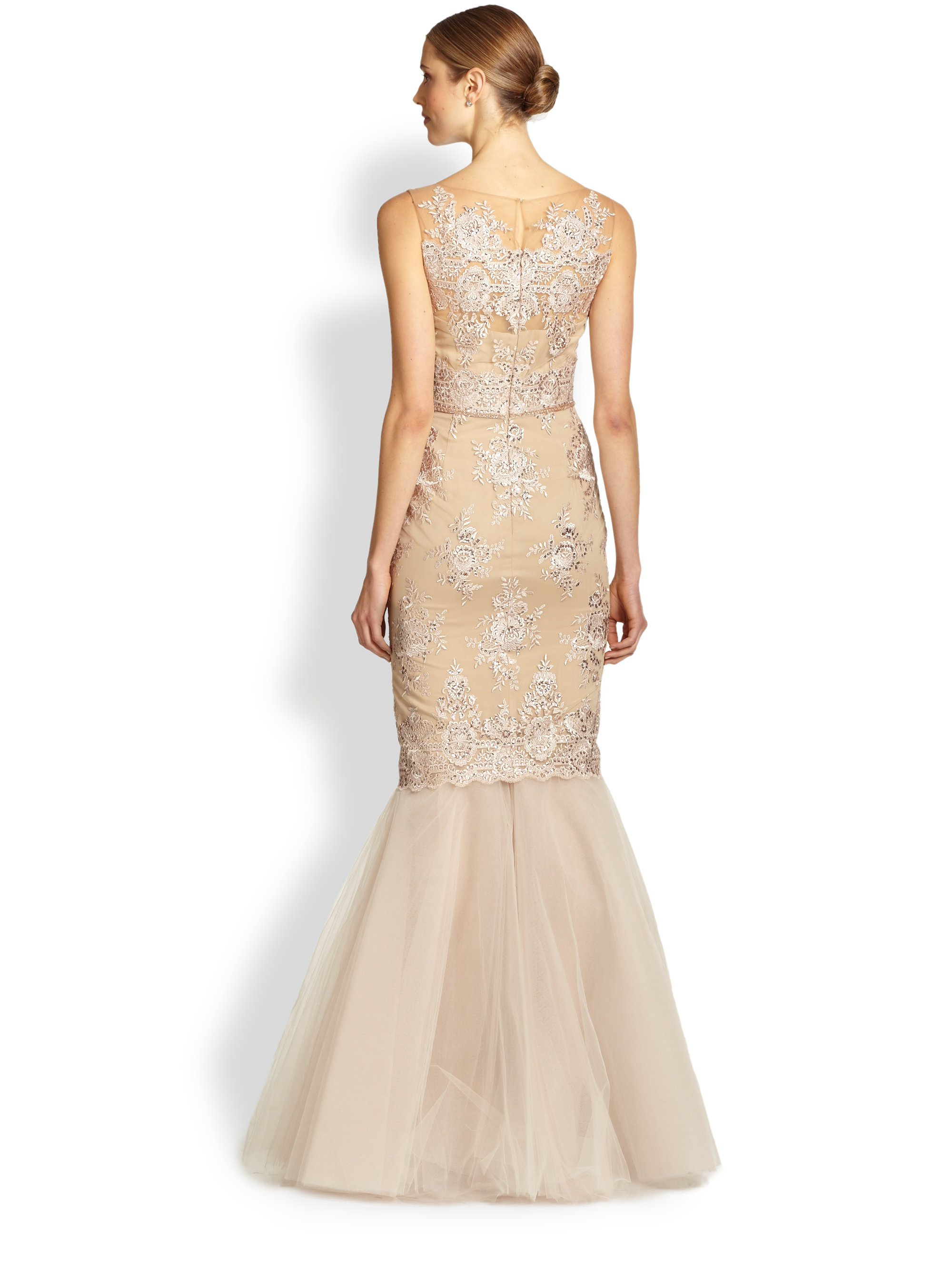 Notte by marchesa Re Embroidered Lace & Tulle Mermaid Gown