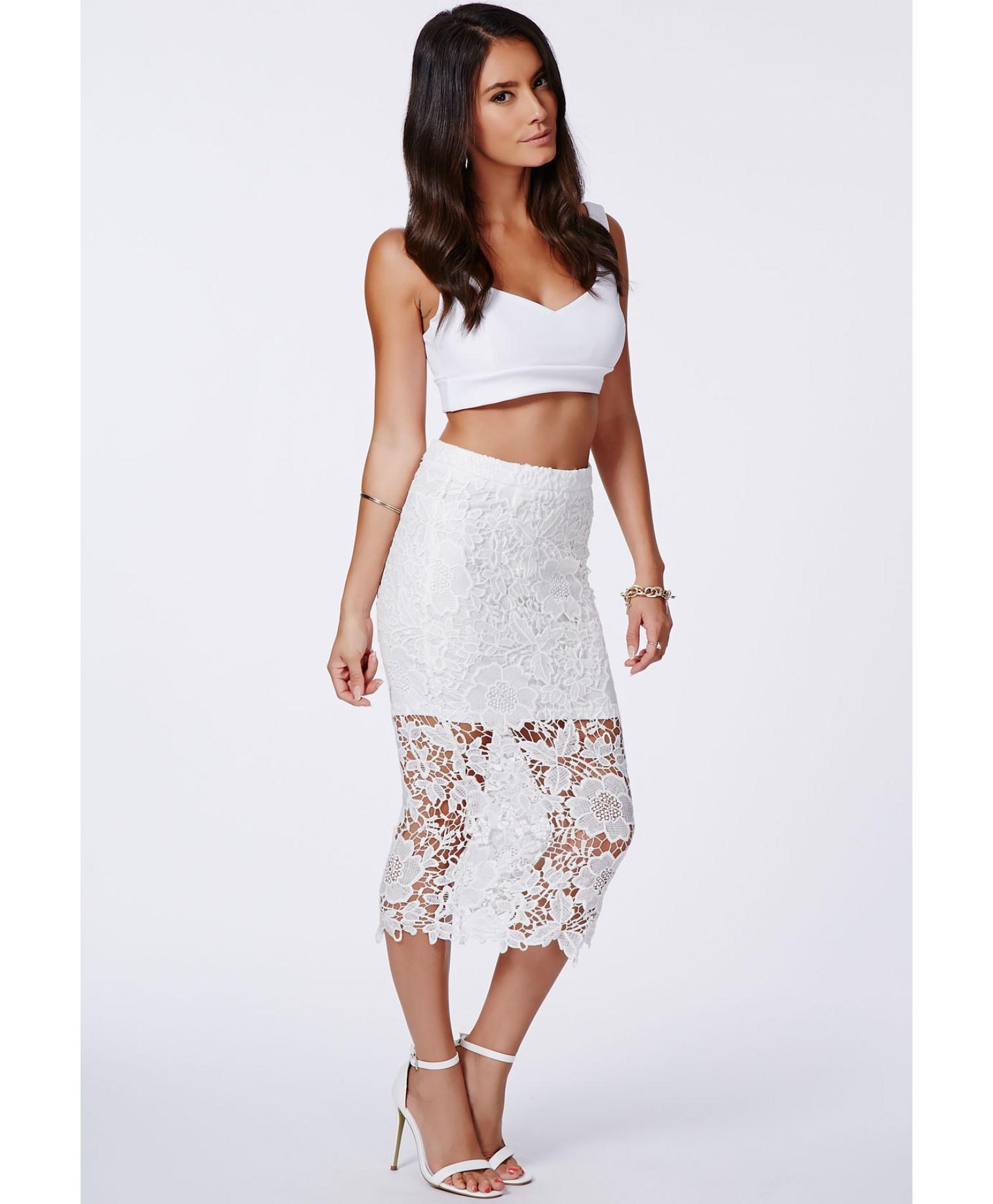 116a072cc87 Crochet Lace Full Midi Skirt White - Gomes Weine AG