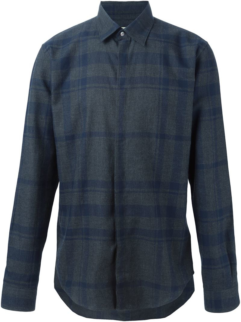 Lyst Burberry Checked Shirt In Blue For Men