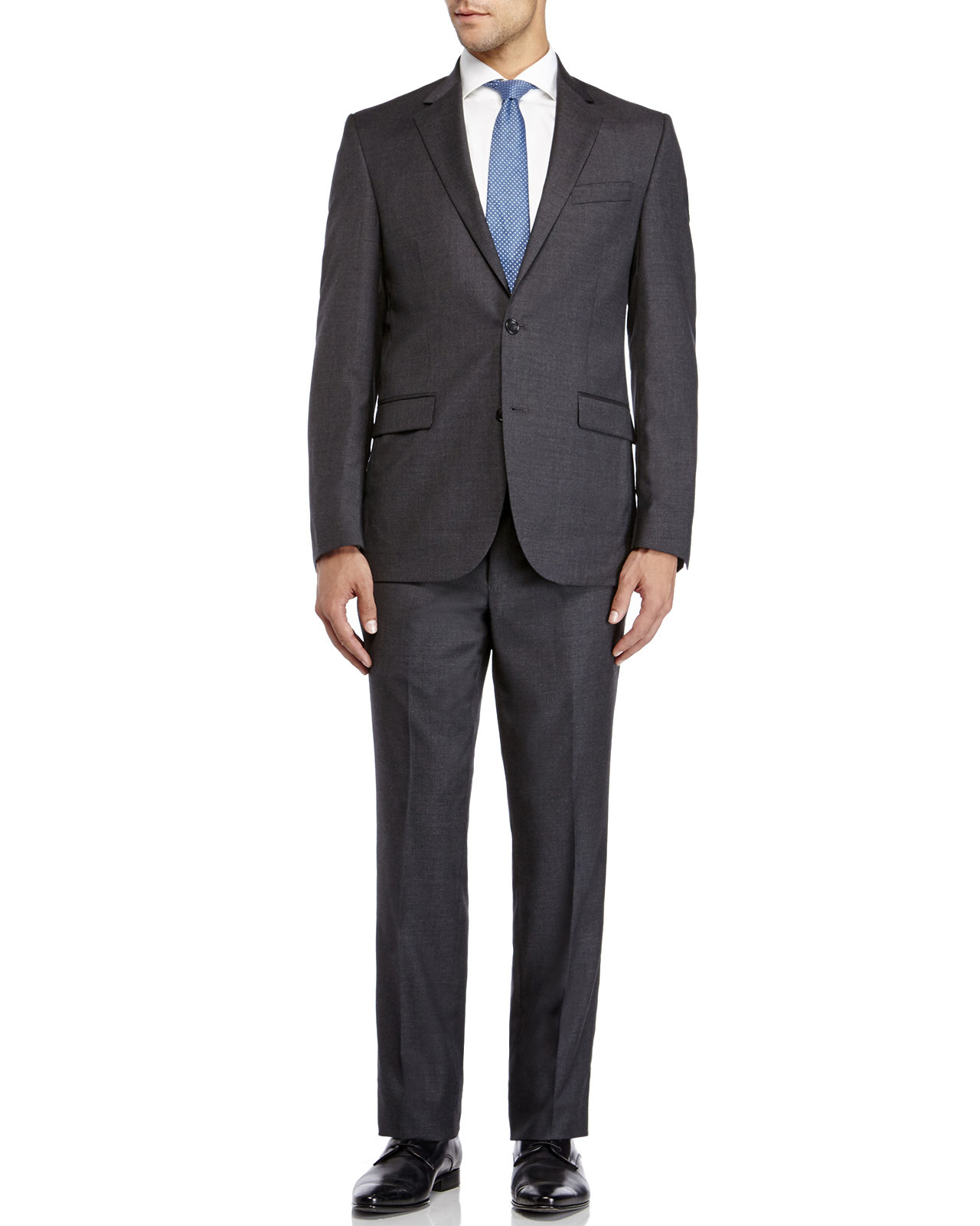 Kenneth cole Charcoal Two-Button Slim Fit Suit in Gray for ...
