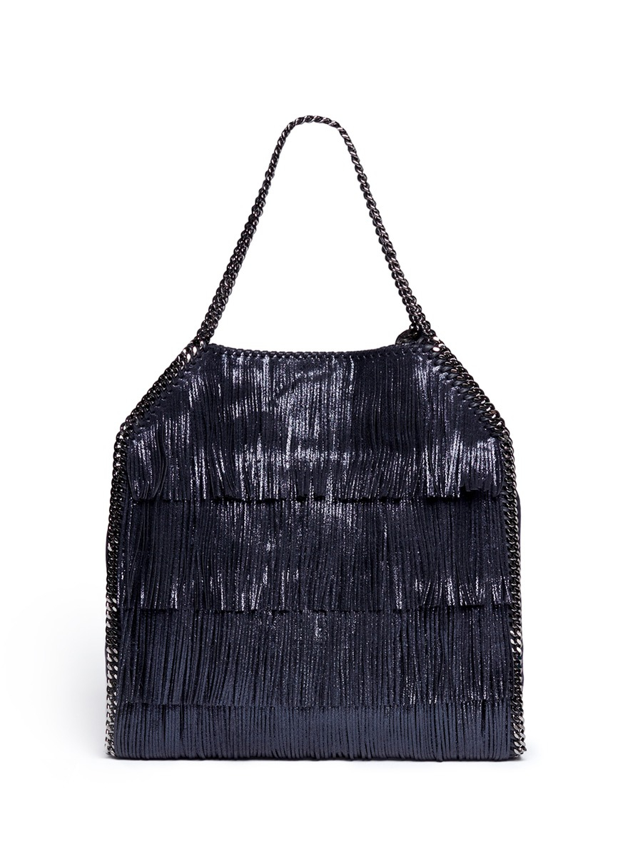 Stella McCartney 'falabella' Large Metallic Fringe Chain Tote in Blue