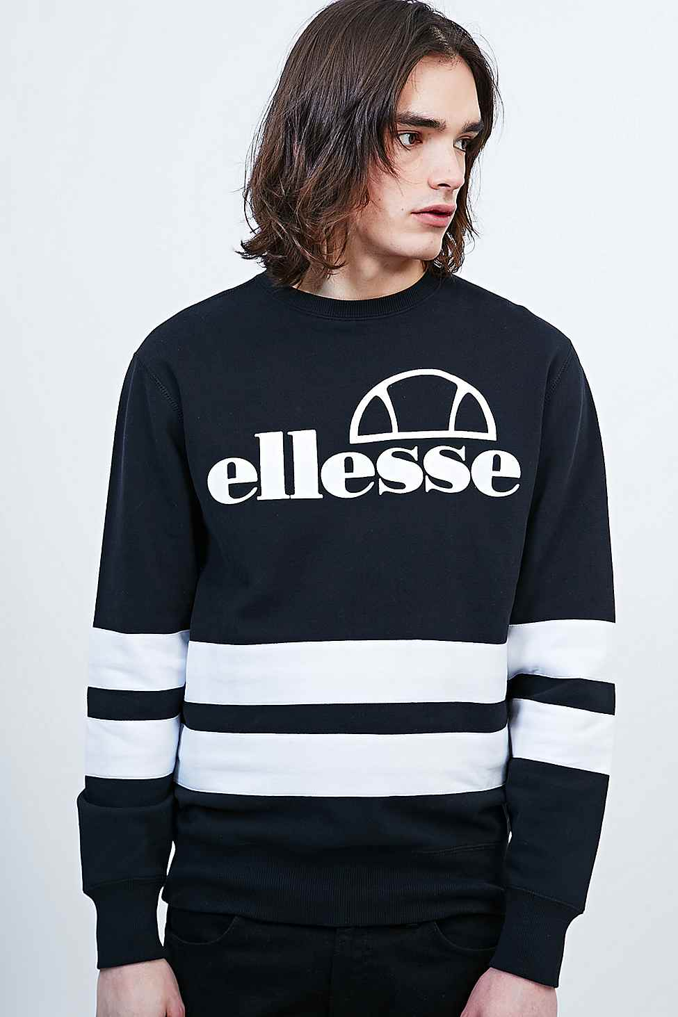b88ee61248 Ellesse Stripe Sweatshirt In Black And White for Men - Lyst