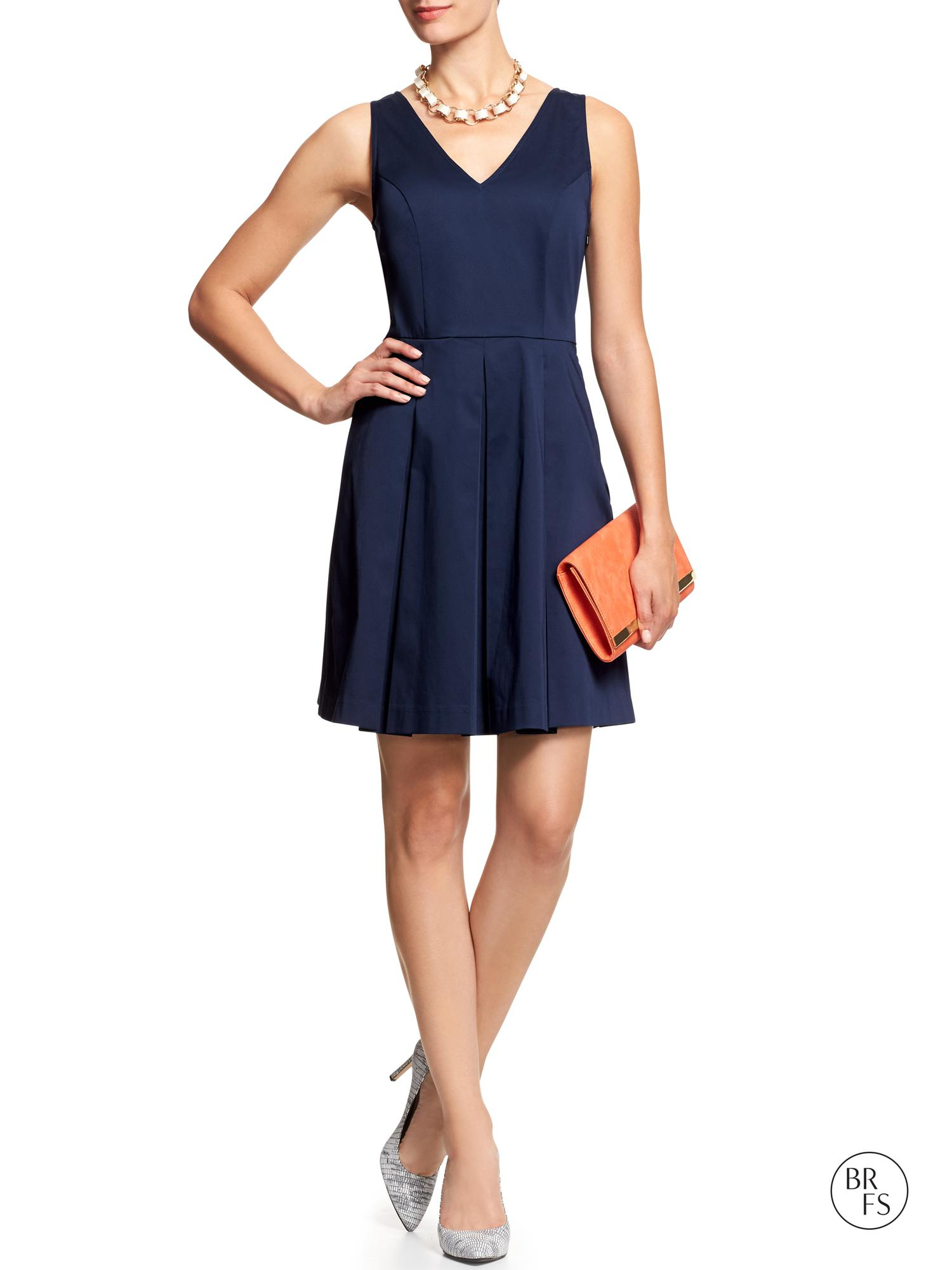 Banana Republic Factory Flare Dress Navy Star In Blue Lyst