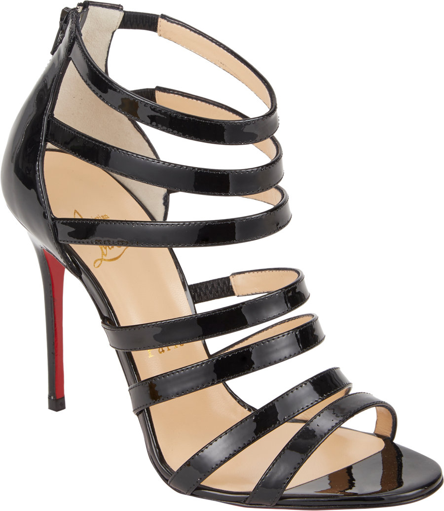 64596eda1dc Christian Louboutin Mariniere Strappy Sandals in Black - Lyst