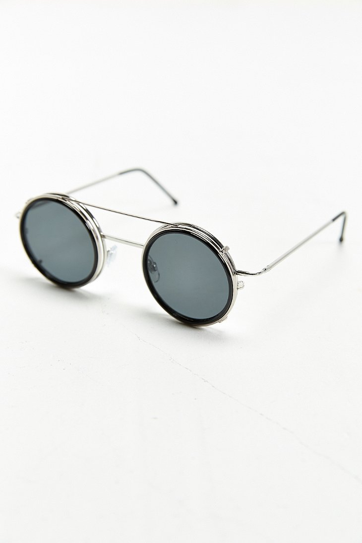 Spitfire Sonic Clip On Round Sunglasses In Metallic For