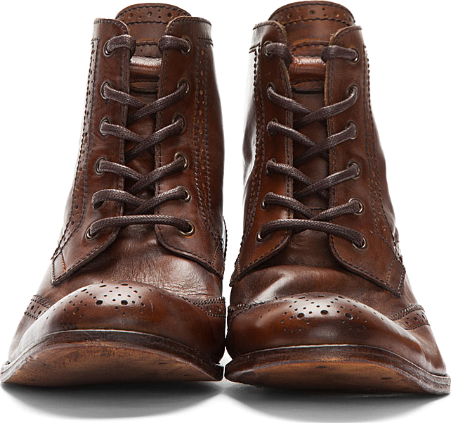 69ba7b9a97b5 Lyst - H by Hudson Brown Leather Angus Wingtip Brogue Boots in Brown for Men