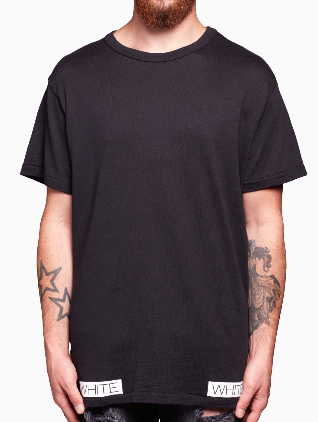 Black t shirt white collar - Gallery