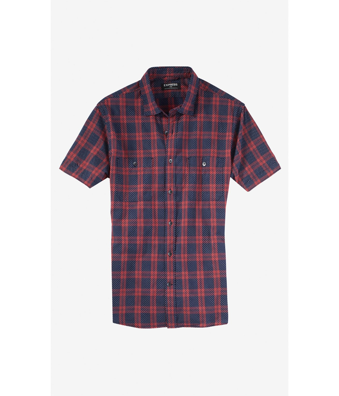 Express plaid dot short sleeve shirt in red for men Short sleeve plaid shirts