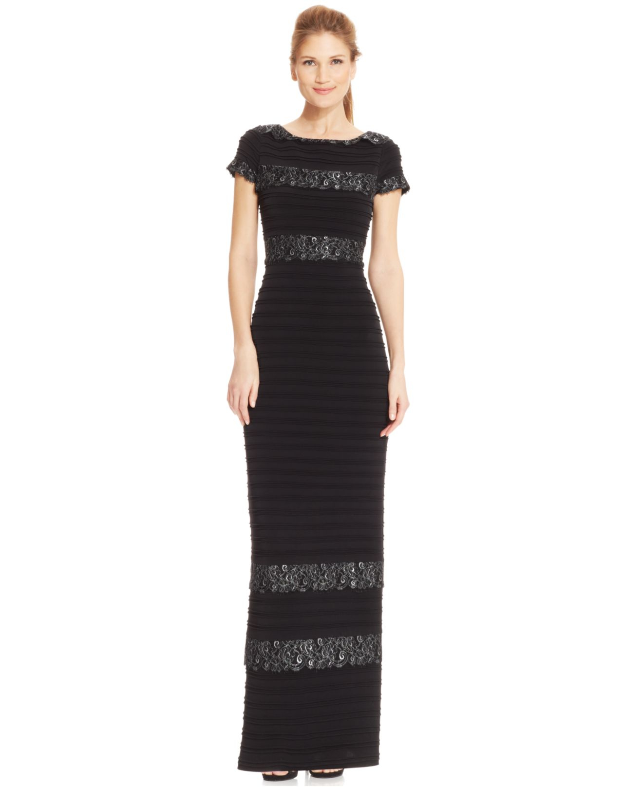 Calvin klein Short-Sleeve Metallic Lace Banded Gown in Black | Lyst