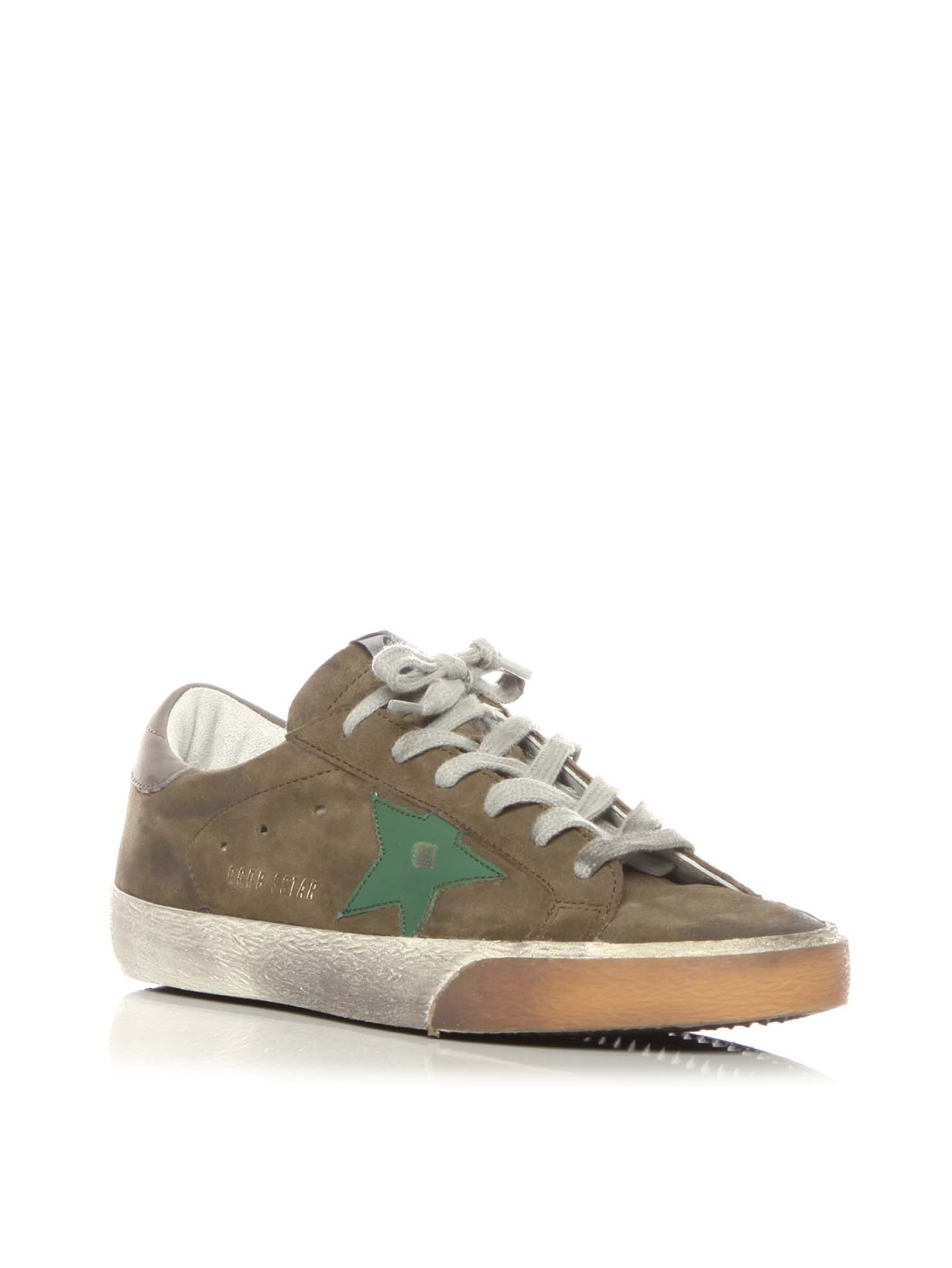 golden goose deluxe brand superstar suede low top sneakers in green lyst. Black Bedroom Furniture Sets. Home Design Ideas