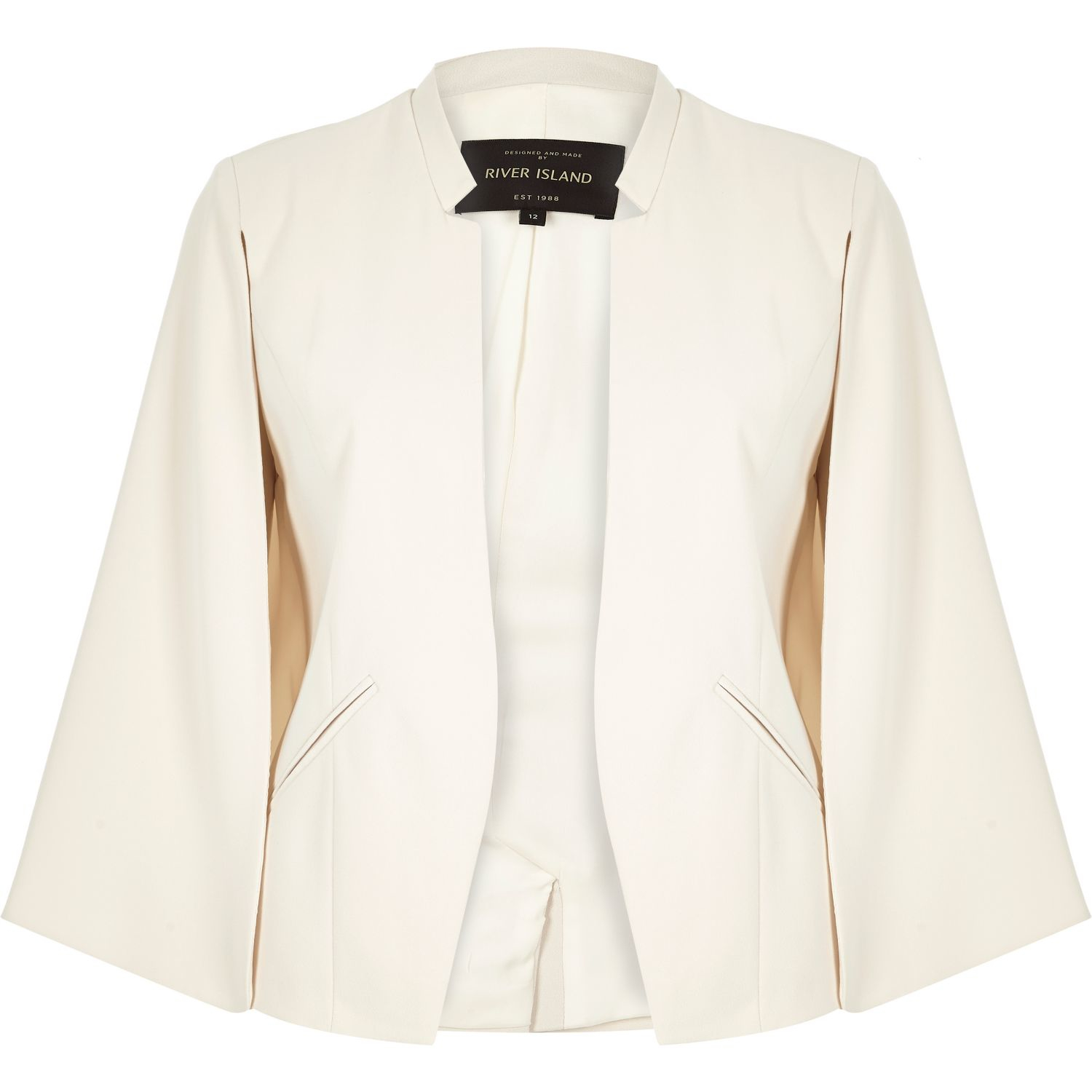 River island Cream Smart Cape Jacket in Natural | Lyst