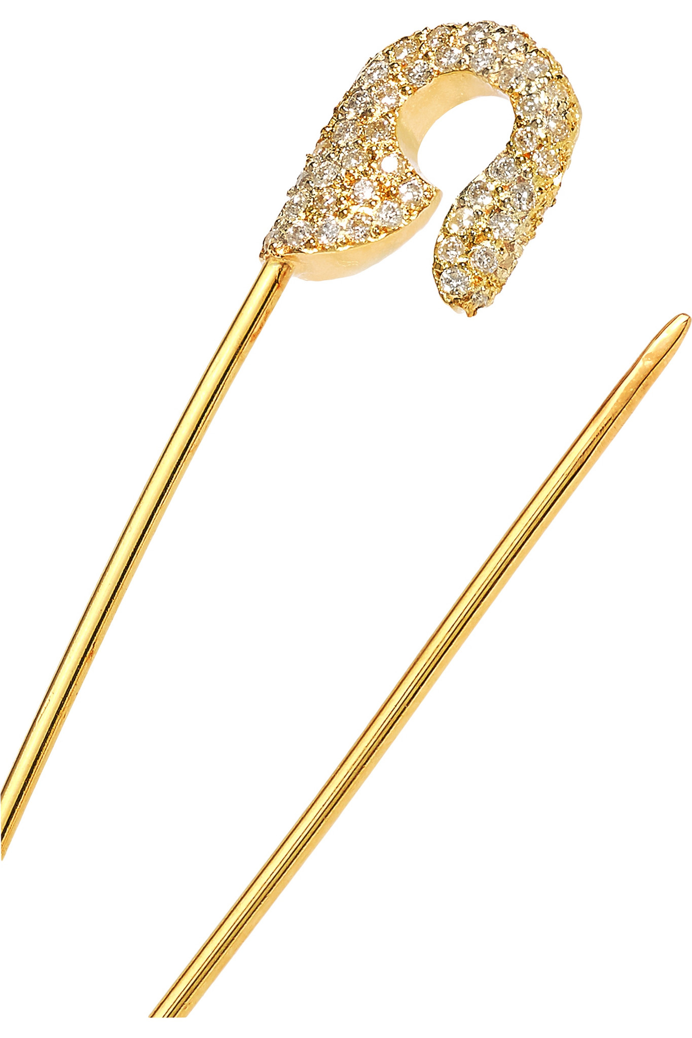 Ileana Makri Safety Pin 18 Karat Gold Diamond Earring In