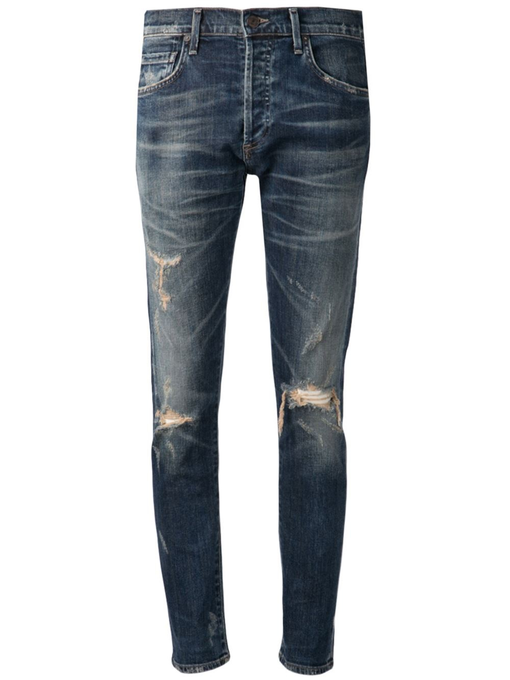 citizens of humanity distressed skinny jeans in blue lyst. Black Bedroom Furniture Sets. Home Design Ideas