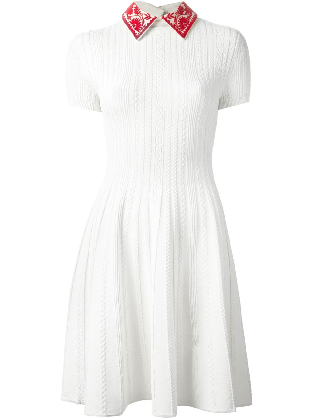 Valentino Woman Embellished Crepe-trimmed Cable-knit Dress Ivory Size L Valentino tJwVqZ5FR