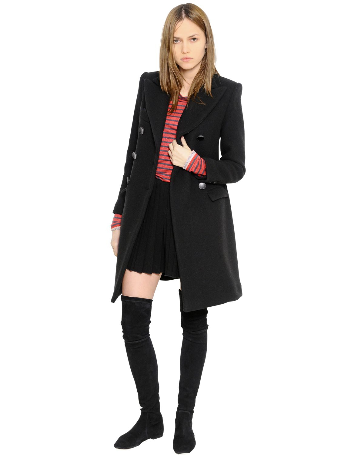 Étoile isabel marant Double Breasted Wool Coat in Black | Lyst