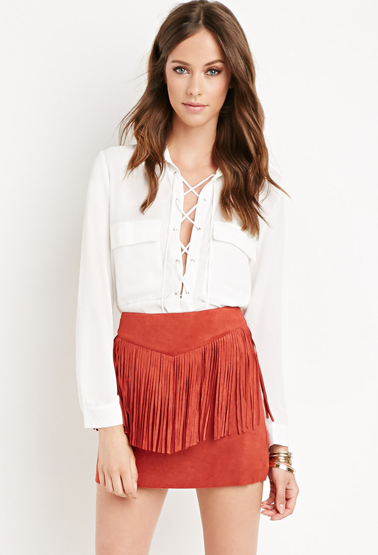Forever 21 Fringed Faux Suede Skirt in Red | Lyst