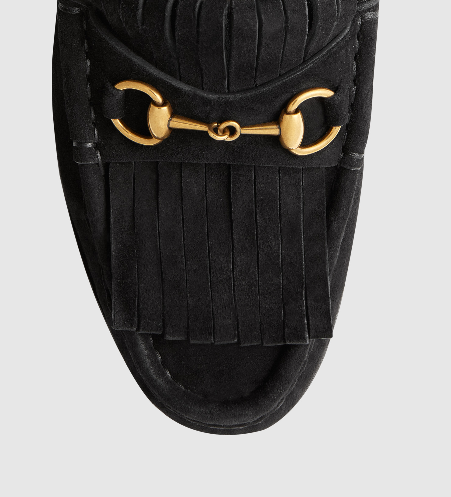 cb6a976a448 Lyst - Gucci Horsebit Loafer In Fringed Suede in Black