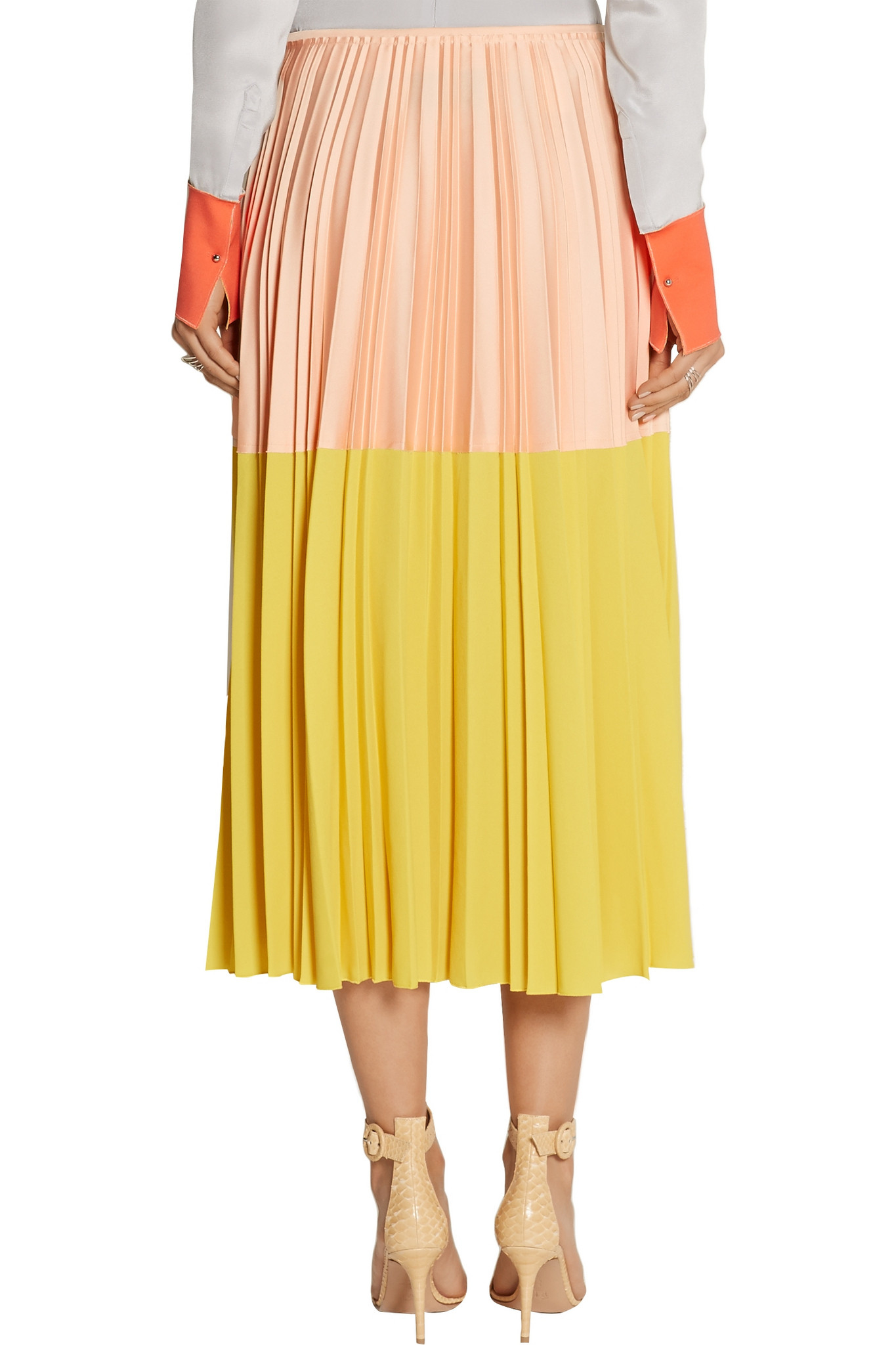 7879dc0f33 Cedric Charlier Two-tone Pleated Crepe Midi Skirt in Yellow - Lyst