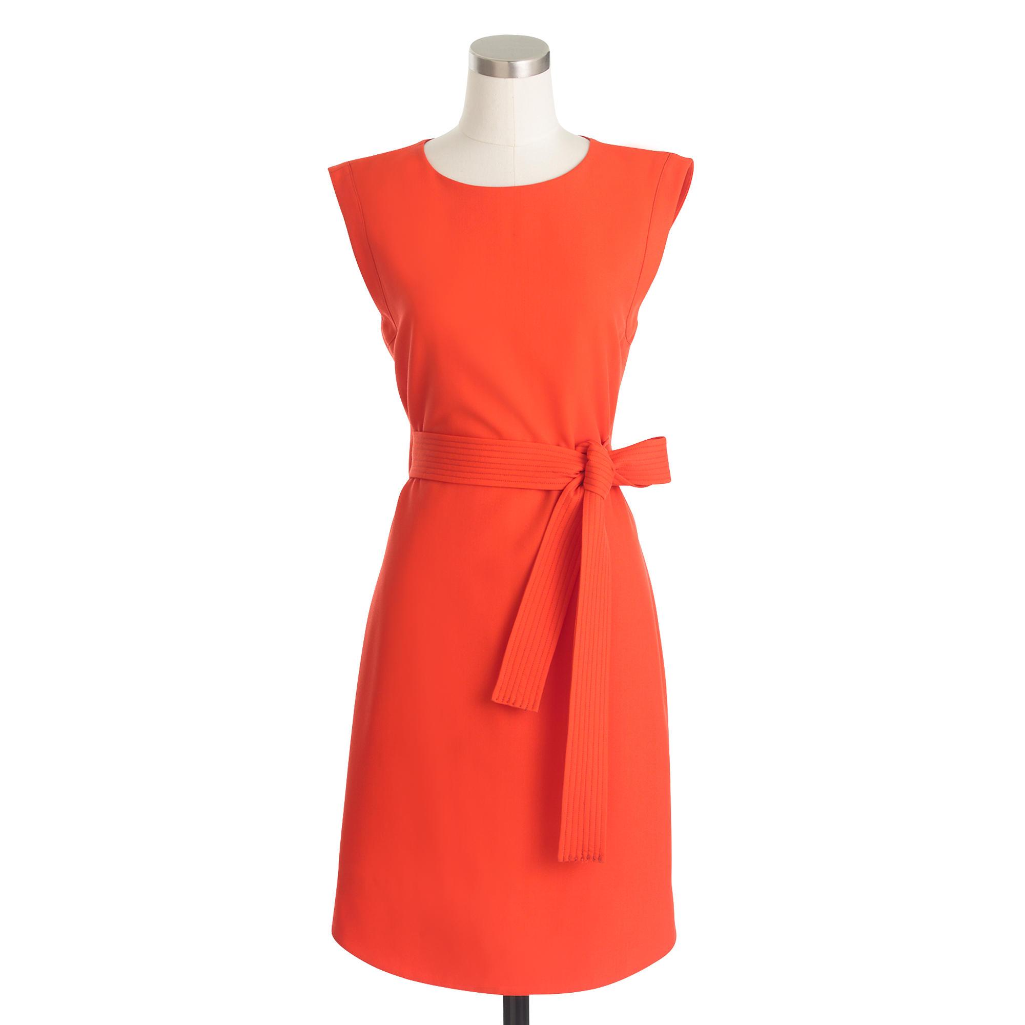j crew sleeveless belted dress in italian wool