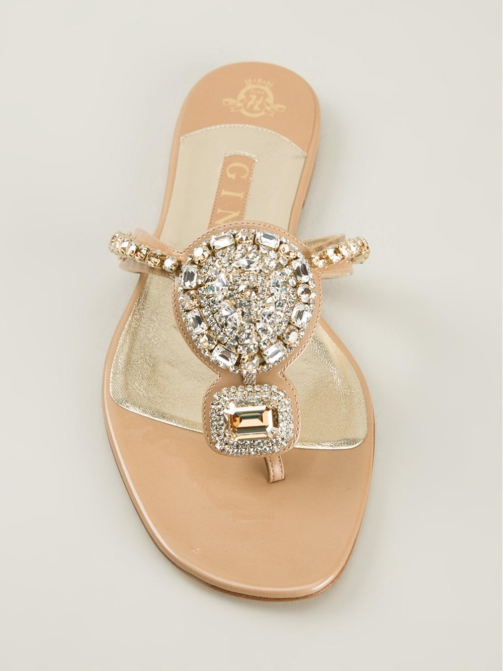 Gina Crystal Embellished Sandals in Natural   Lyst