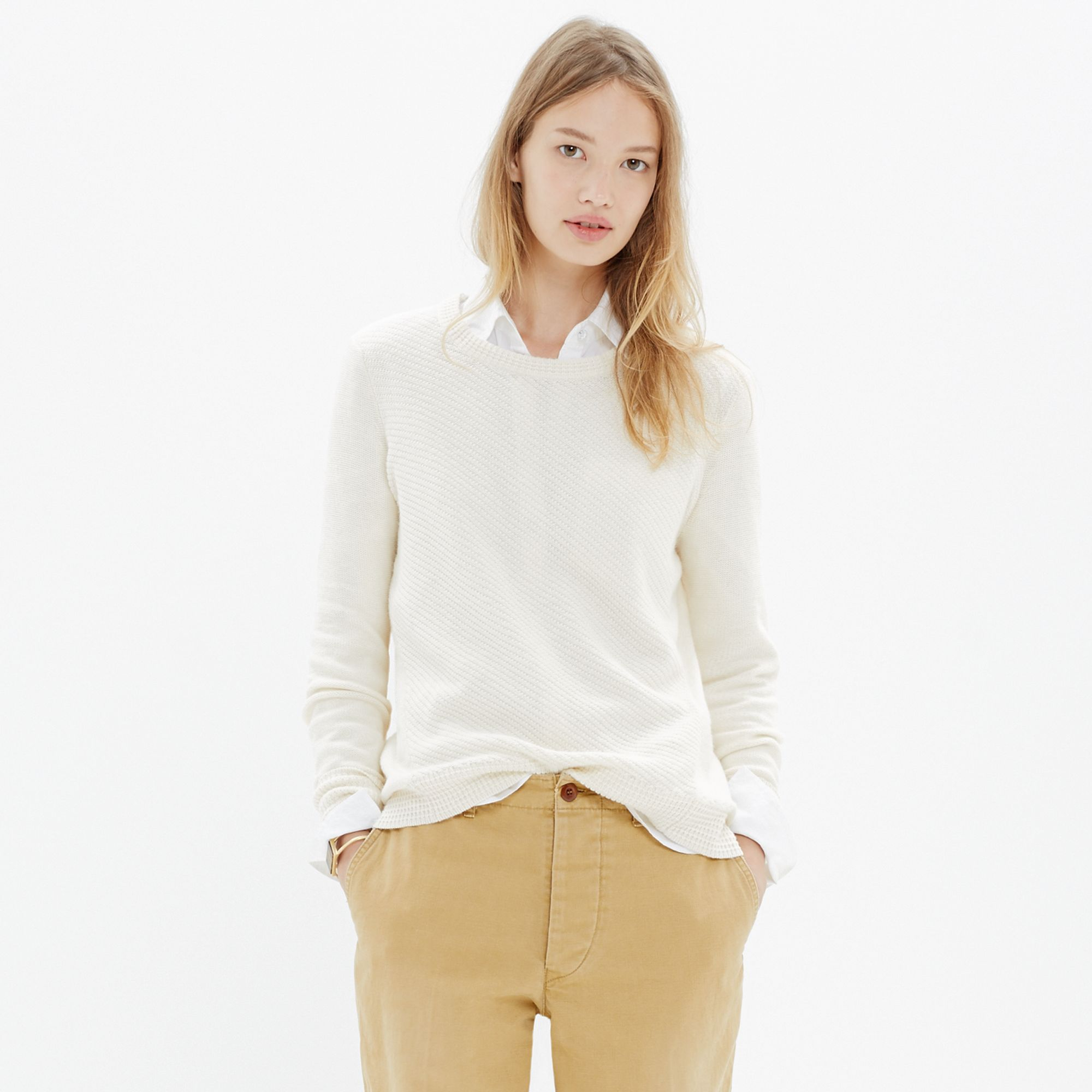 Madewell Back-Zip Pullover Sweater in Natural | Lyst
