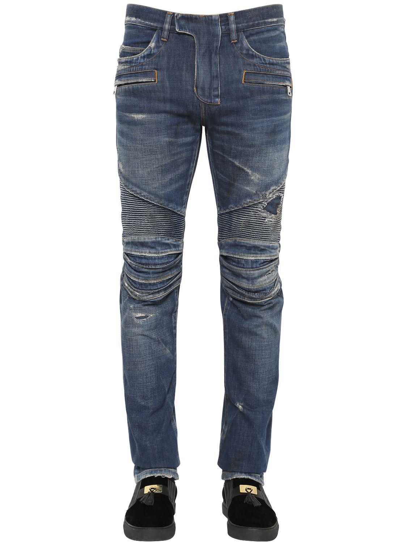 balmain washed cotton denim biker jeans in blue lyst. Black Bedroom Furniture Sets. Home Design Ideas