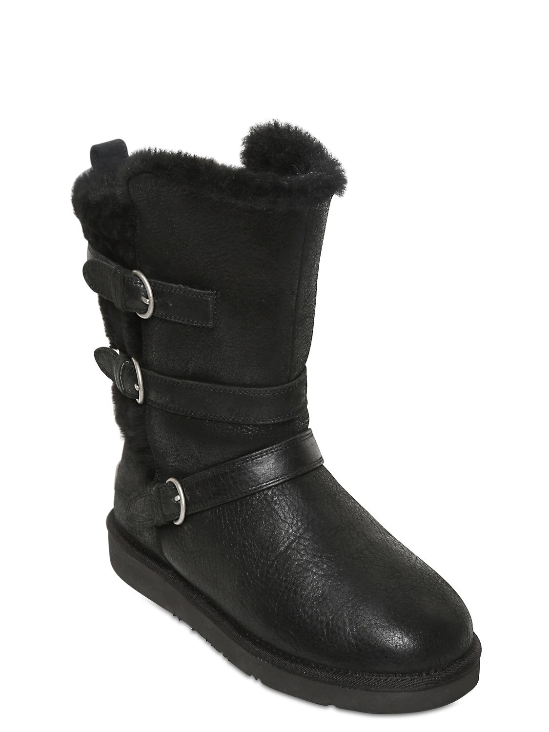 UGG Becket Waxed Shearling Boots in Black
