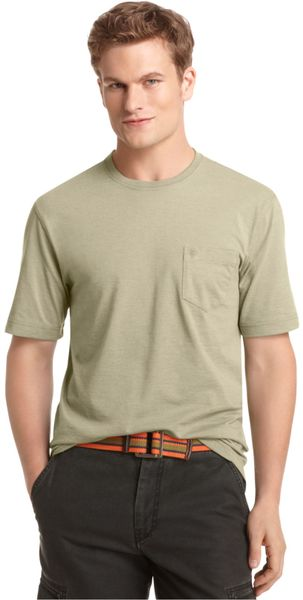 Izod big and tall solid pocket t shirt in green for men for Izod big and tall essential solid shirt