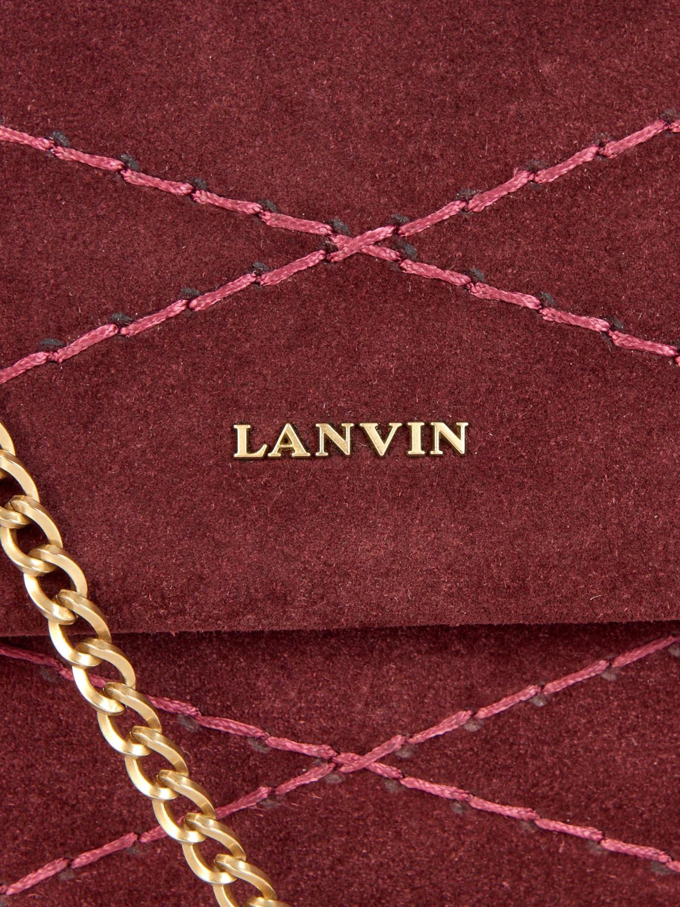 Lanvin Mini Sugar Quilted-suede Cross-body Bag in Burgundy (Purple)