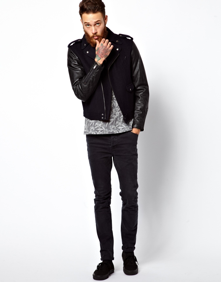 Asos Biker Jacket with Faux Leather Sleeves in Blue for Men | Lyst