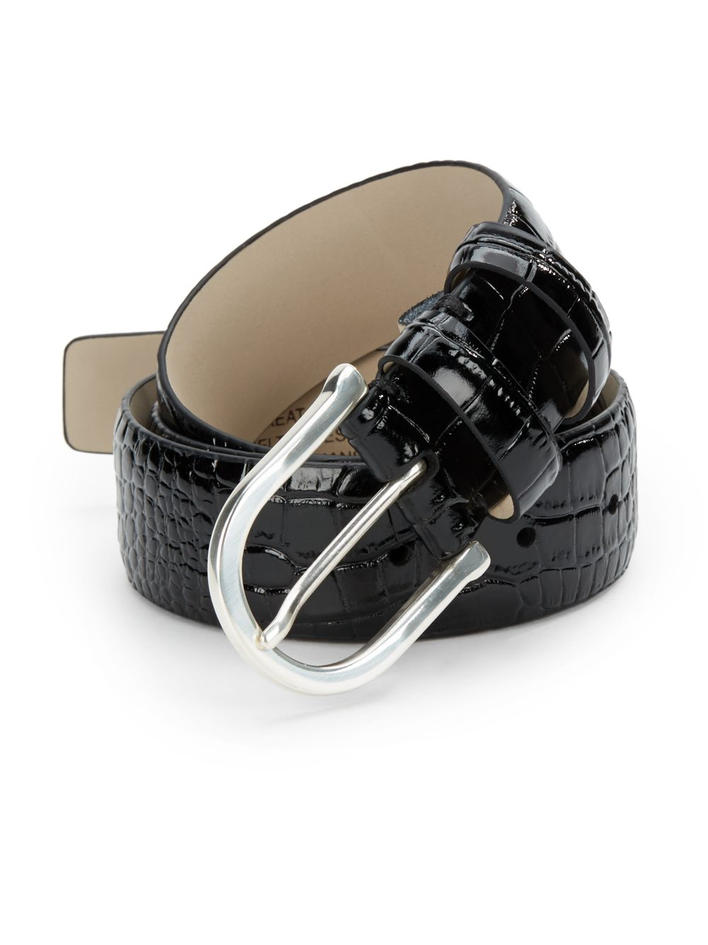 hickey freeman croc embossed leather belt in black for