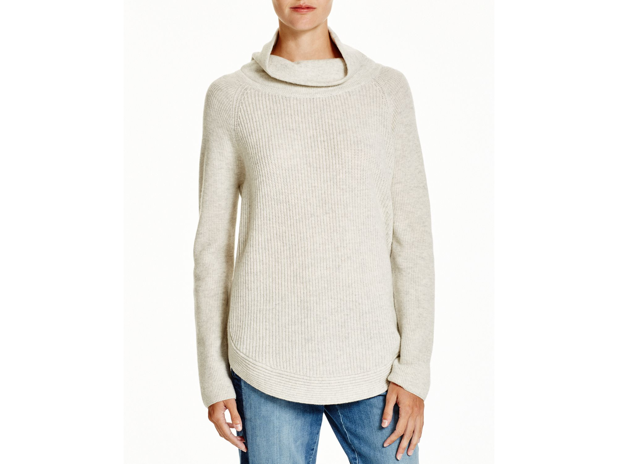 c28b4f43dab77 Lyst - Vince Side Zip Cowl Neck Sweater in Gray