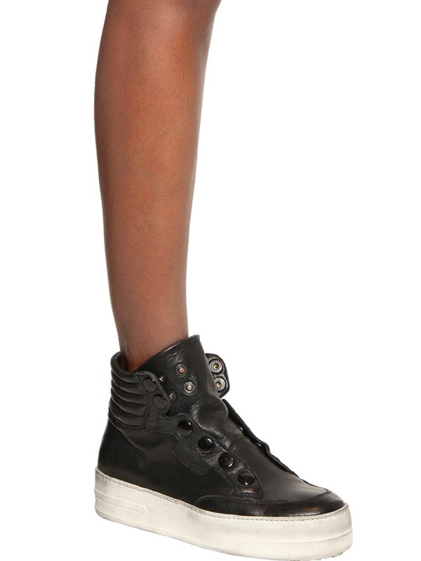 BB Bruno Bordese 30Mm Snap Calfskin High Top Sneakers in Black