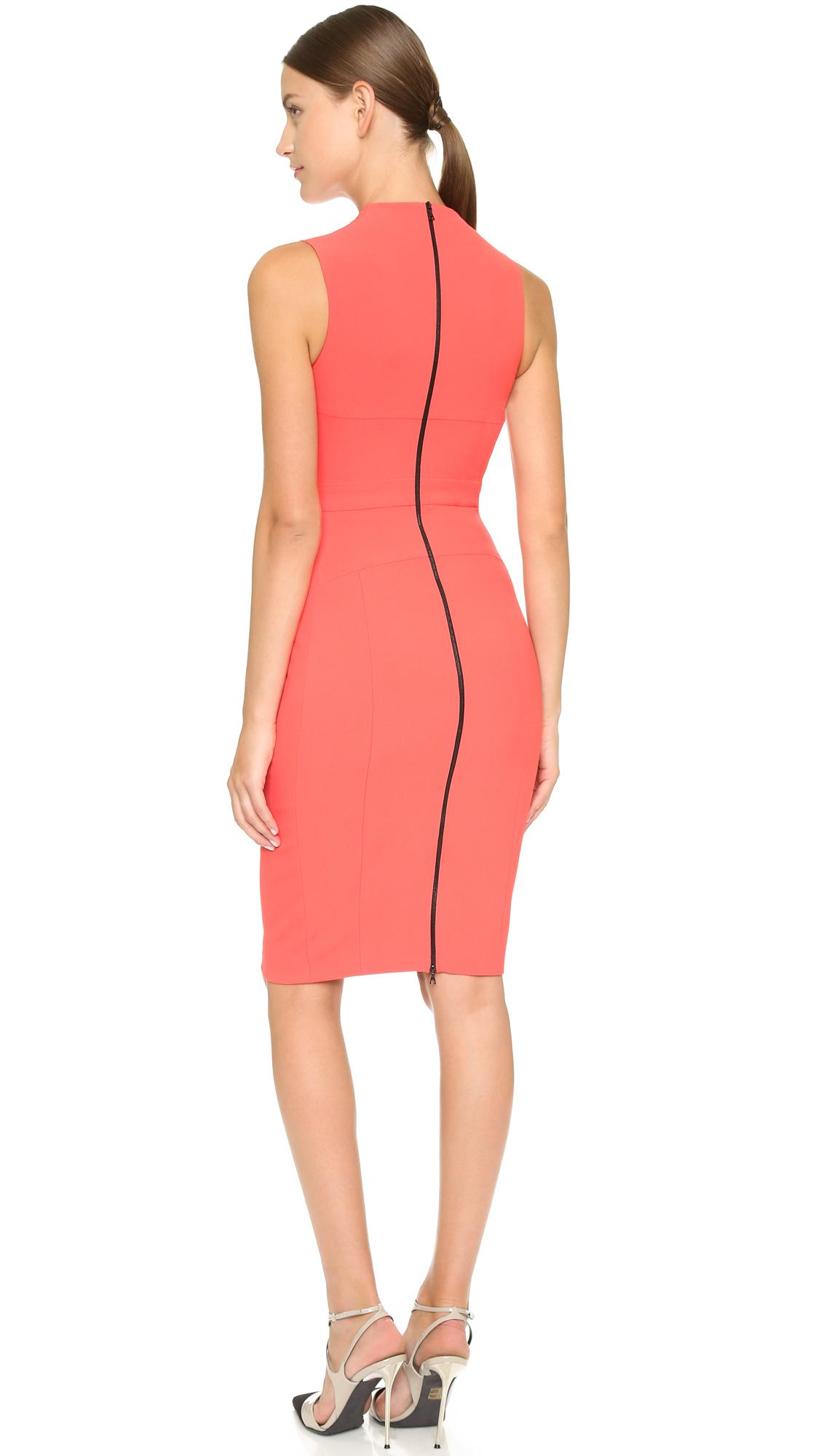 e148dc3e9ec Narciso Rodriguez Scuba Crepe Fitted Dress - Red in Orange - Lyst