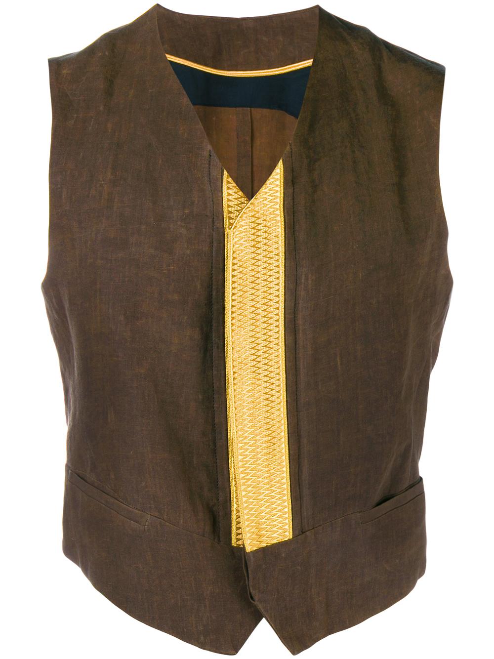 Haider Ackermann Linen Waistcoat In Brown For Men Lyst