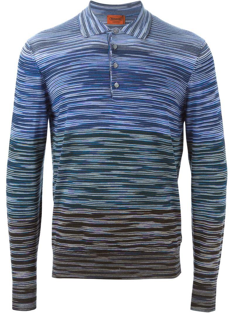 94e871c5de597 Missoni Striped Polo T-shirt in Blue for Men - Lyst