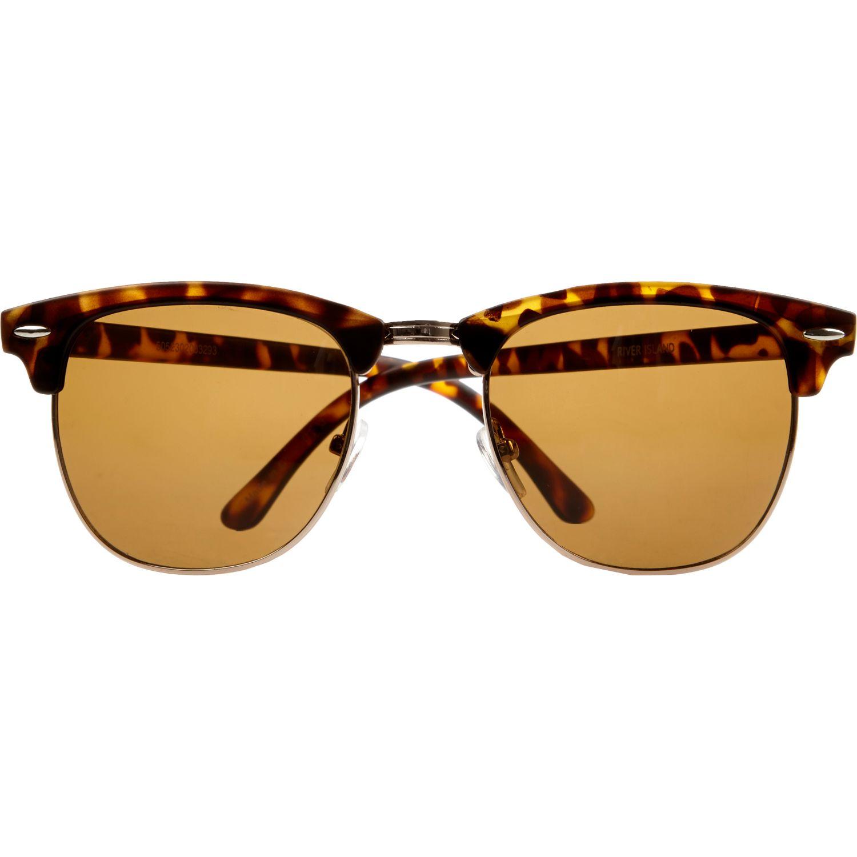 Tortoise Shell Glasses Half Frame : River Island Brown Tortoise Shell Half Frame Sunglasses in ...