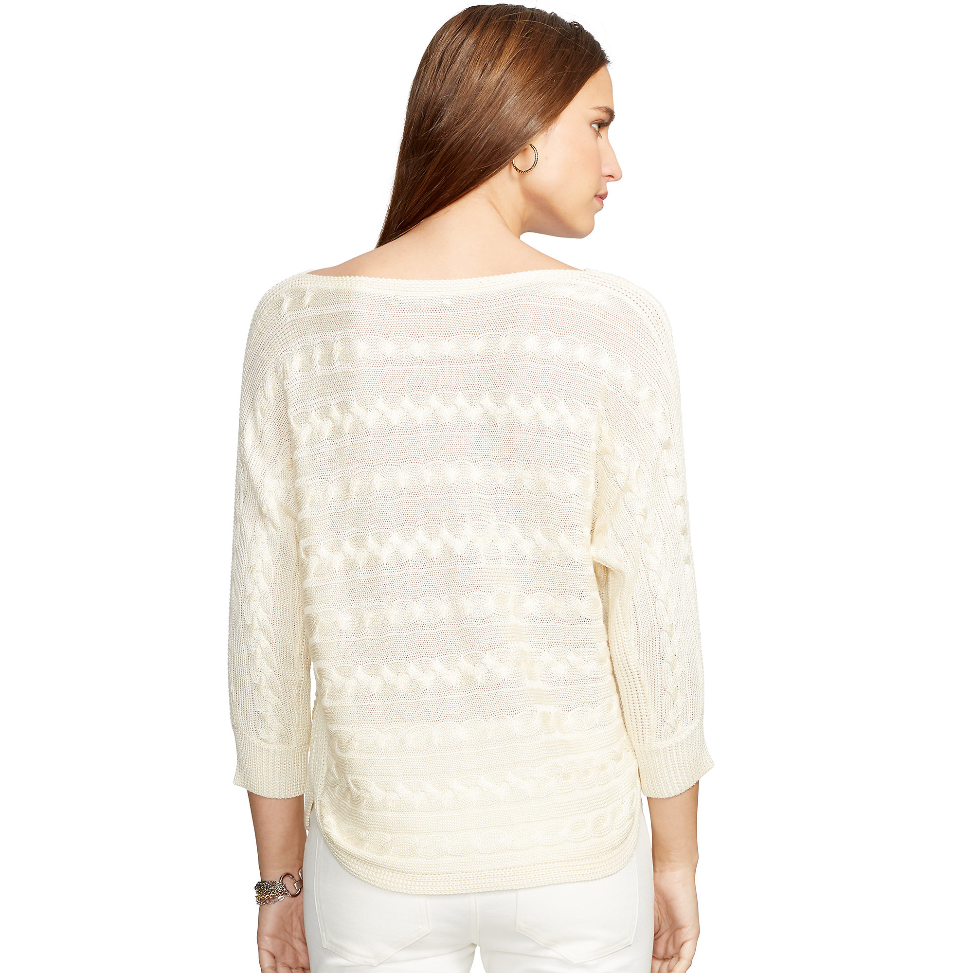 Knitting Pattern For Dolman Sleeve Sweater : Pink pony Cable-knit Dolman Sweater in Natural Lyst