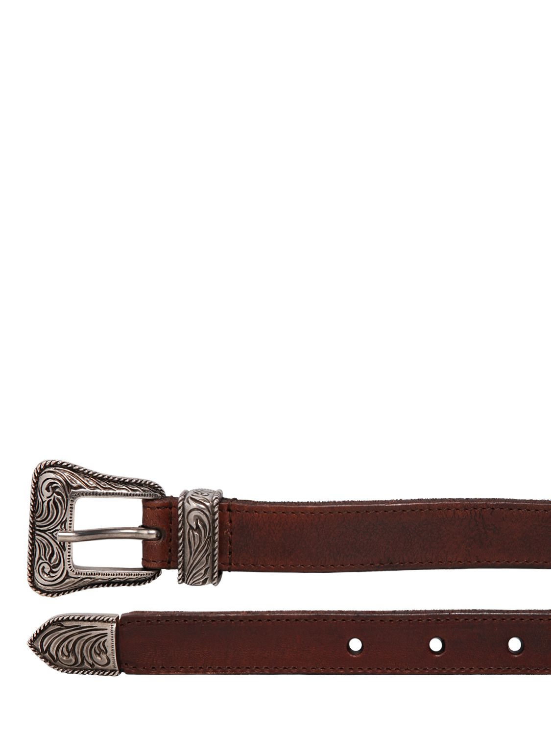 laurent 20mm western style leather belt in brown for