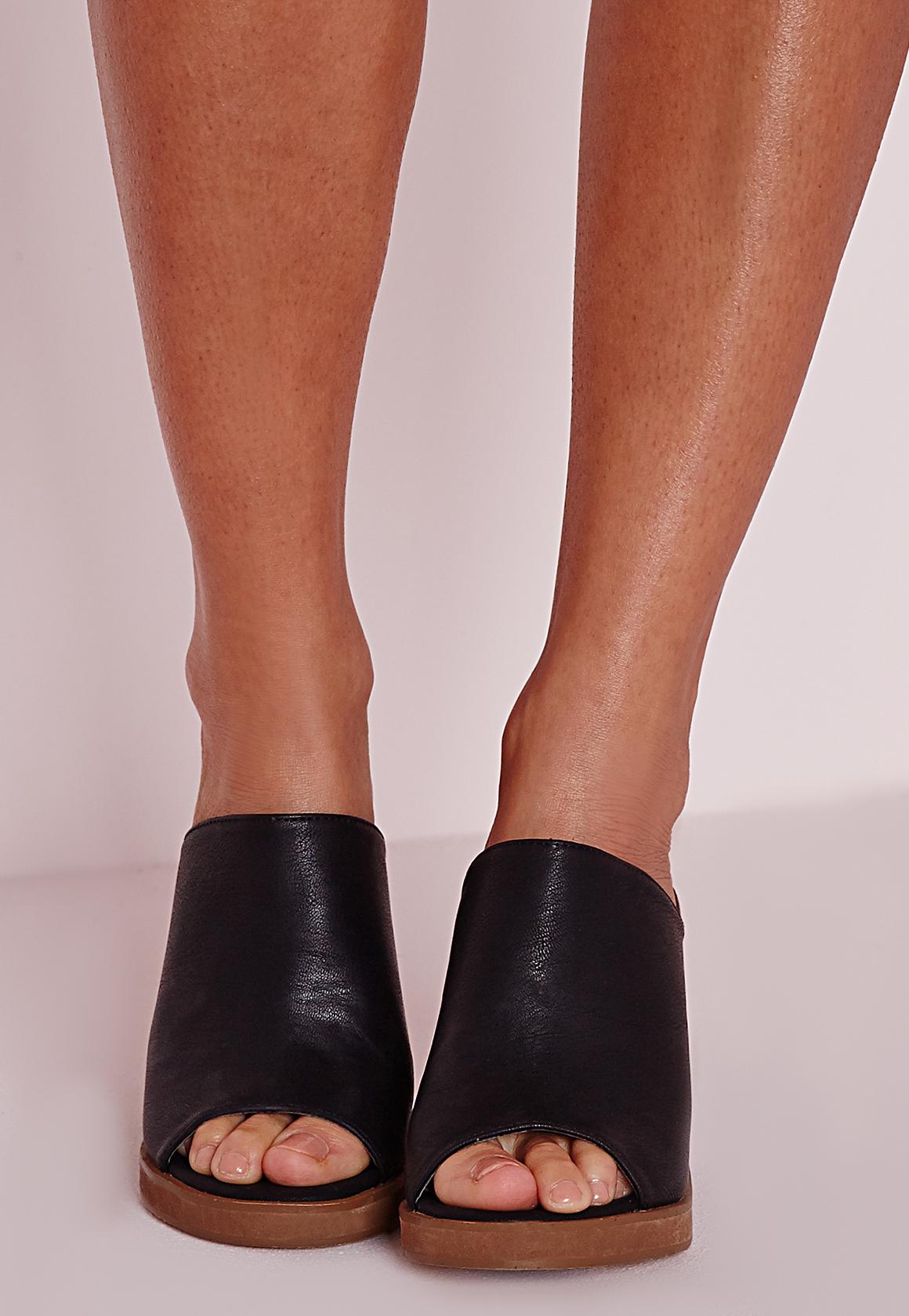 Lyst Missguided Peep Toe Block Heel Mules Black In Black