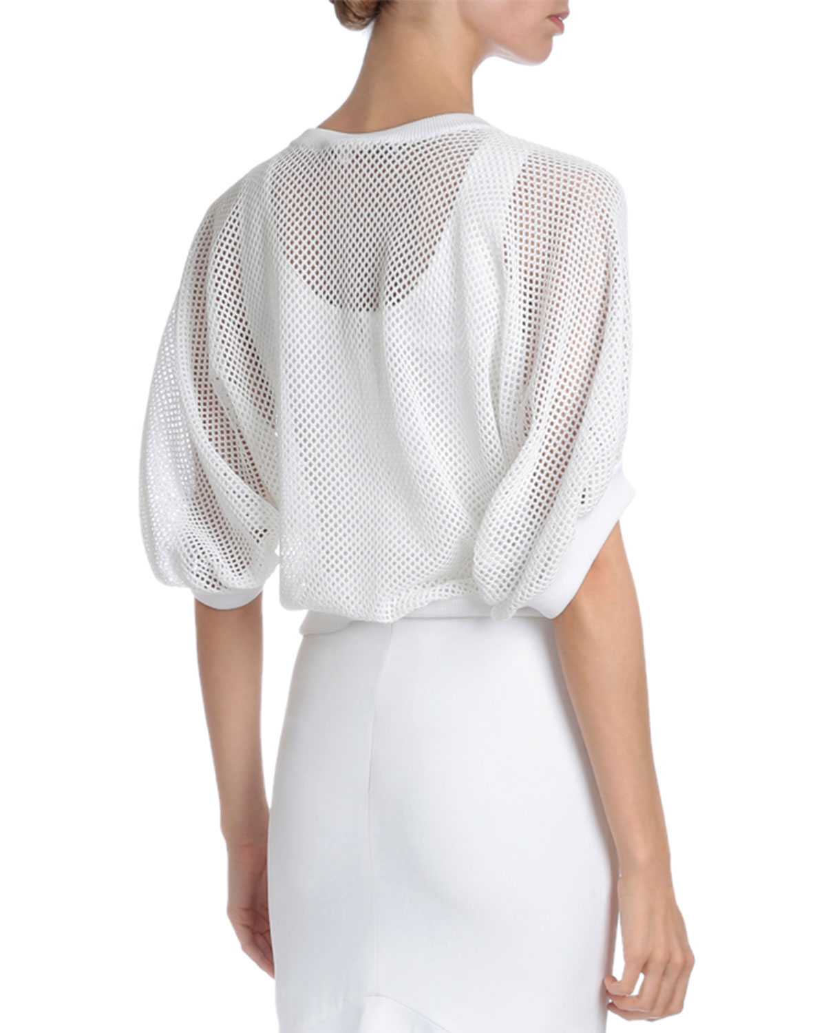 givenchy victorian sleeve v neck mesh pullover in white lyst. Black Bedroom Furniture Sets. Home Design Ideas