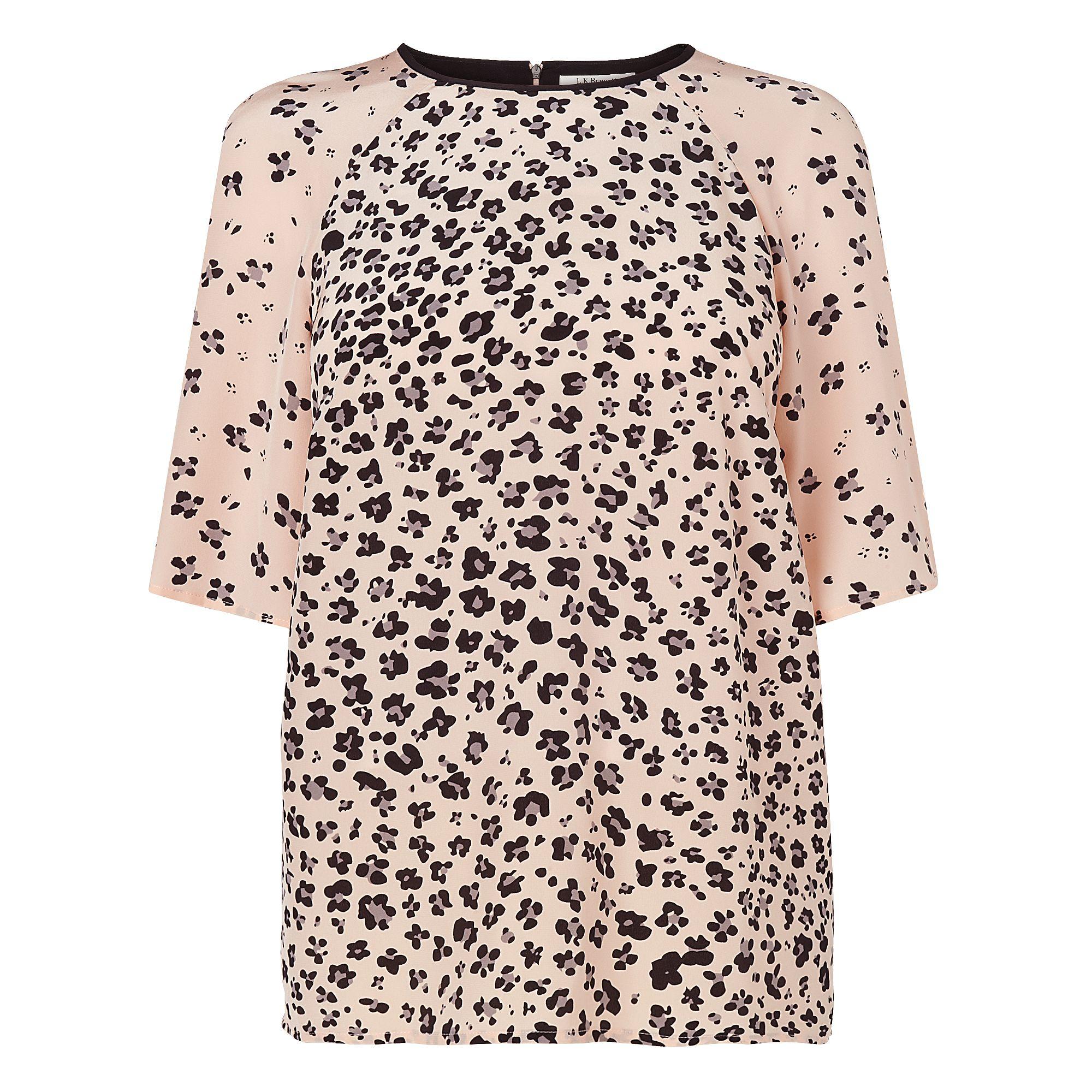 L.K.Bennett Blossom Print Silk T-Shirt in Pink