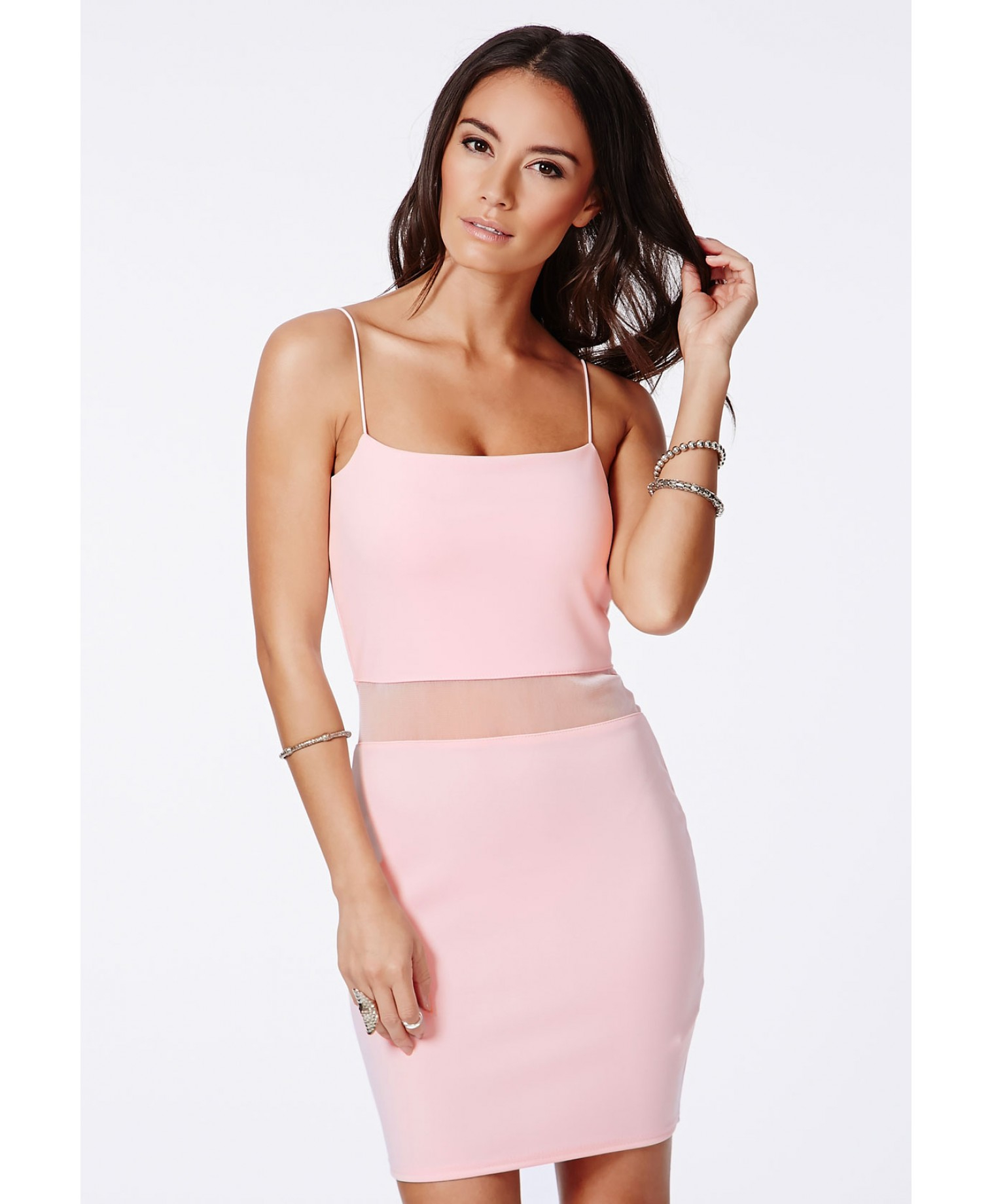 a5bfc361b34d Lyst - Missguided Lotye Pink Mesh Panel Bodycon Dress in Pink