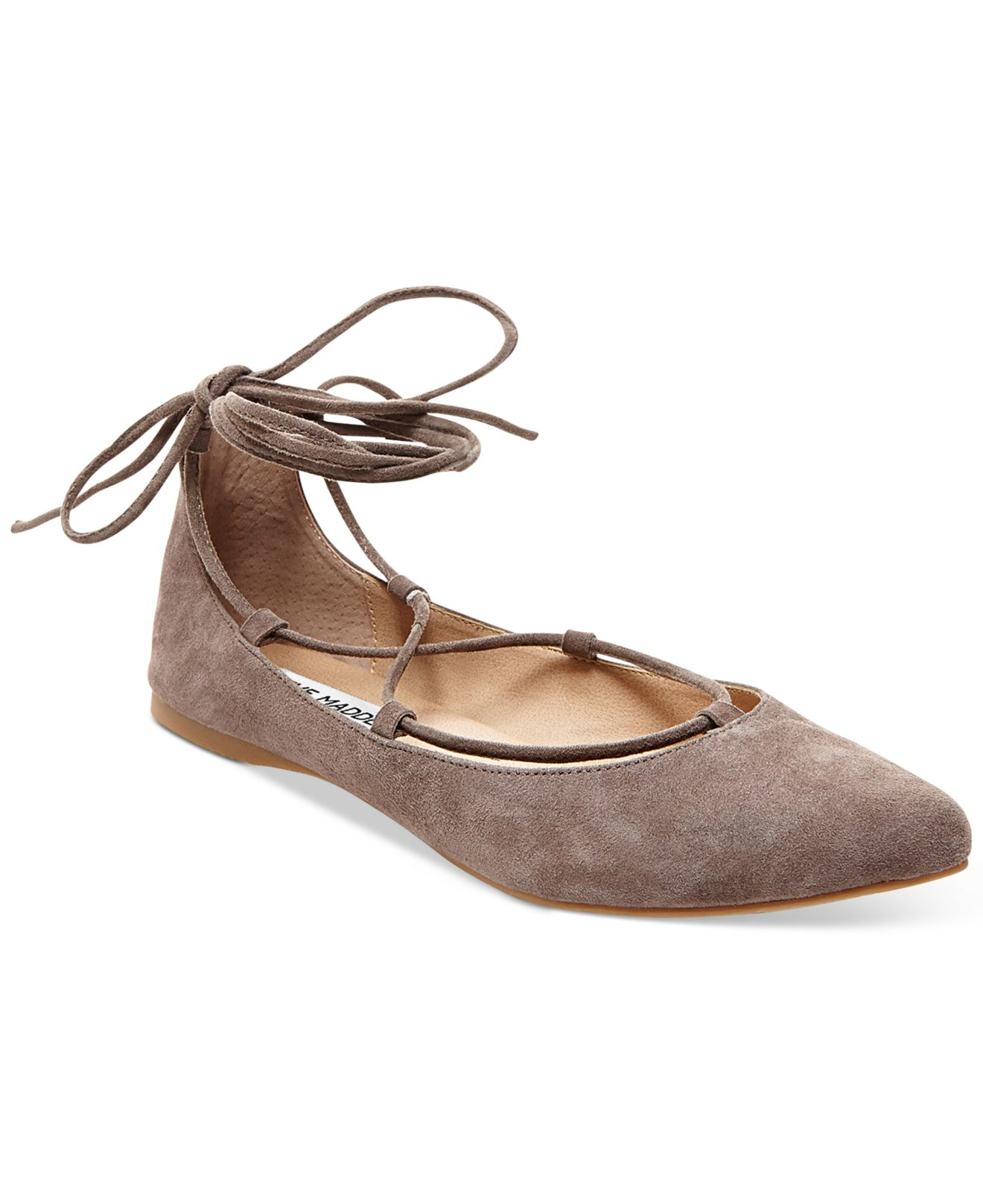 steve madden eleanorr suede lace up flats in brown lyst
